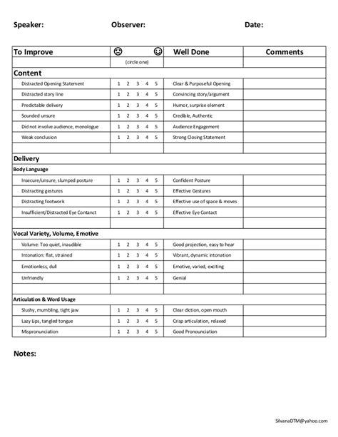 speech feedback form