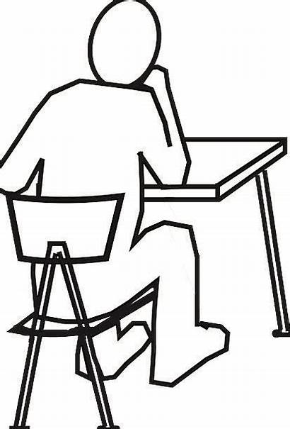 Desk Chair Drawing Thinking Sitting Counter Office