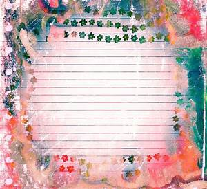 Grunge Scrapbook Paper Design With Flowers And Note Free