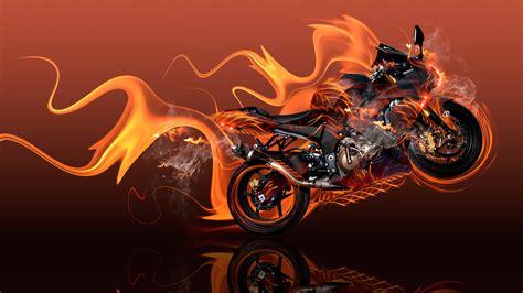 moto kawasaki side super fire abstract bike