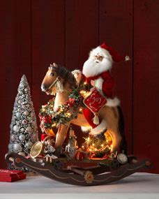 karen didion originals santa  lighted rocking horse