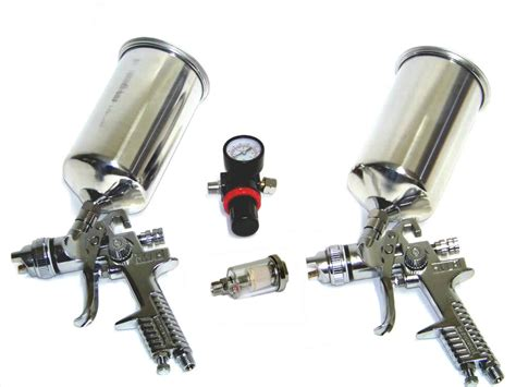 4 Pc Hvlp Air Spray Paint Gun 1.4 Mm & 1.7 Mm + Air