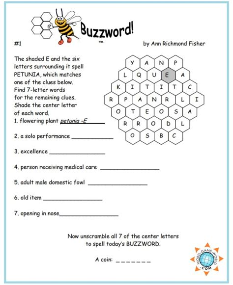 free printable word games buzzwords