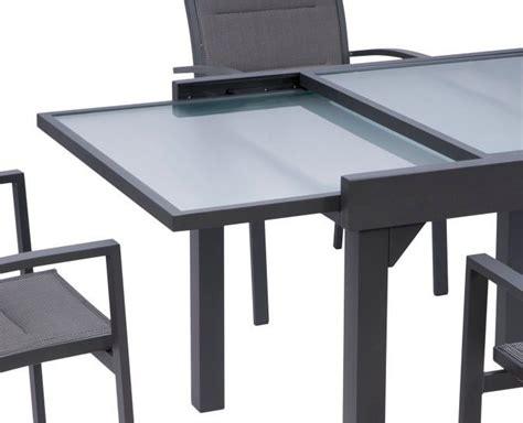 table de jardin avec rallonge table jardin modulo 90 180cm gris m 233 tal wilsa garden sur jardindeco