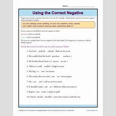 Using The Correct Negative  K12  Negative Words, Worksheets, Sentence Structure