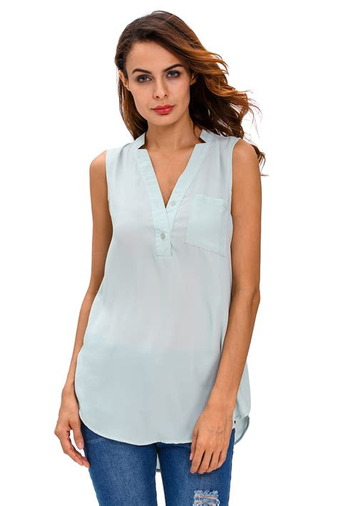 sleeveless button blouse button v neck sleeveless chiffon blouse dress work brief