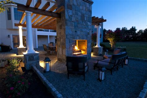 2 Sided Outdoor Fireplace - two sided fireplace patio traditional with opening