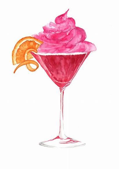 Cocktails Cocktail Cosmopolitan Watercolour Cupcake Illustrations Watercolor