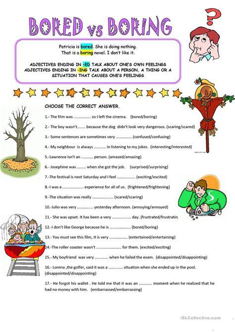 bored vs boring worksheet free esl printable worksheets