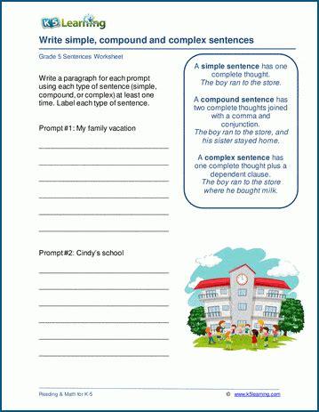 writing sentences worksheets  learning