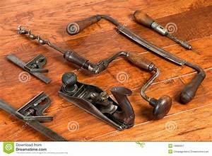 Antique Tools In Arrangement On Wood Background Royalty
