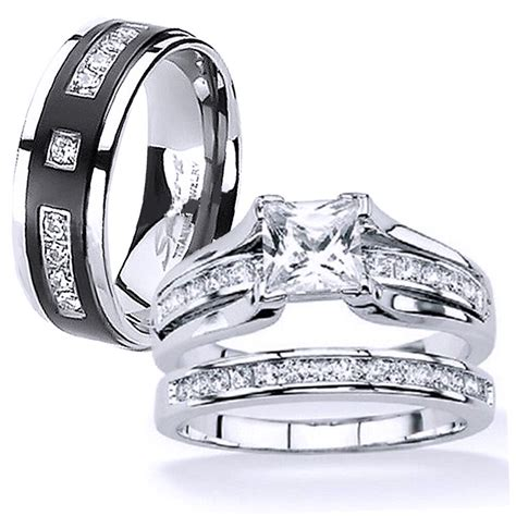 his and hers stainless steel princess cut wedding ring titanium wedding band ebay