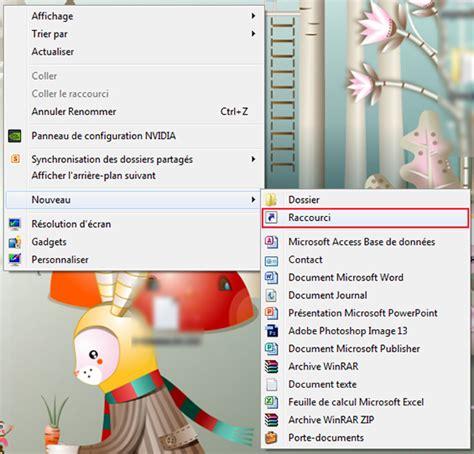 comment faire un raccourci sur le bureau 28 images raccourci changer d utilisateur sous