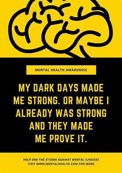 Mental Health Poster Awareness Posters Brain Yellow