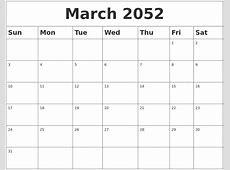 March 2052 Blank Calendar