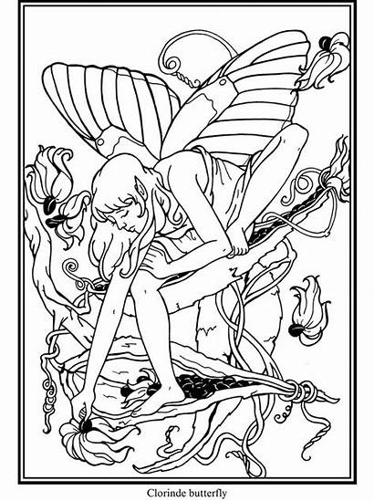 Coloring Patterns Printable Butterfly Fairy Pyrography Dover