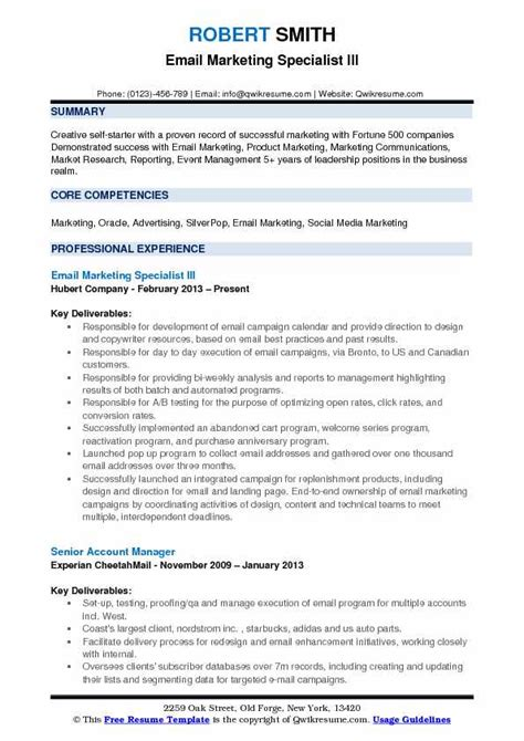 Email Resume by Email Marketing Specialist Resume Sles Qwikresume