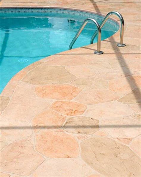 stamped colored concrete pool deck angies list