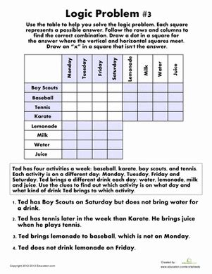 logic problem 3 worksheets logic puzzles and critical