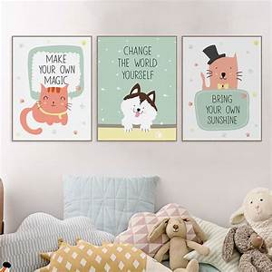 Kawaii, Animals, Pet, Cat, Lion, Quotes, Canvas, Art, Print, Poster, Nursery, Wall, Picture, Kids, Baby, Room
