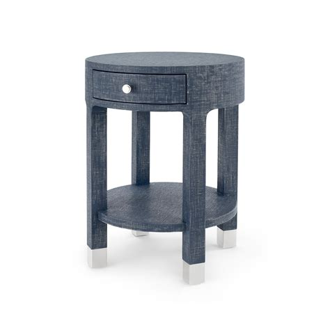 navy blue side table dakota 1 drawer round side table navy blue bungalow 5