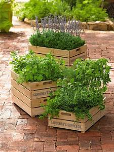 Herb Box: Wooden Crate Planter with Liner Gardener's Supply
