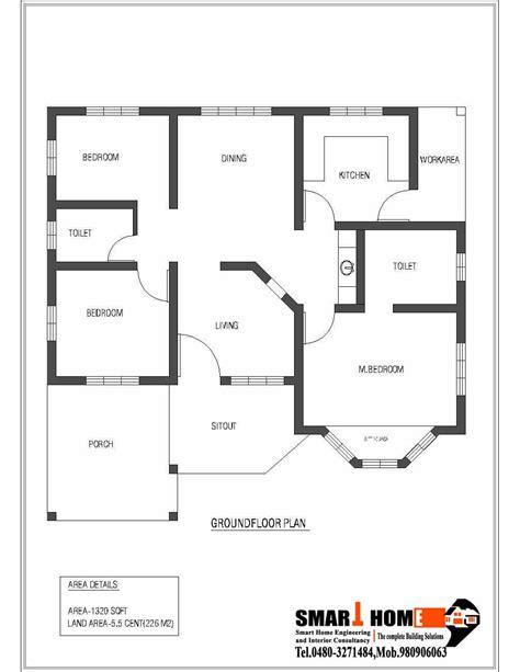 single storey kerala house plan 1320 sq