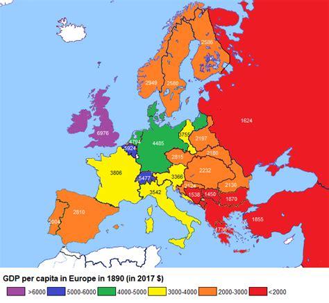 GDP per Capita in Europe in 1890 (in 2017 $) – Brilliant Maps