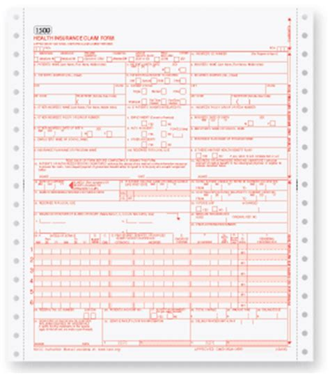 1500 Form Free by Cms 1500 Pin Feed Claim Forms Free Shipping