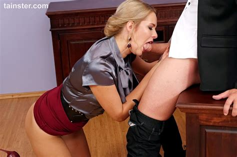 Hot Secretary Slides Her Panties Aside To Fuck Her Boss At