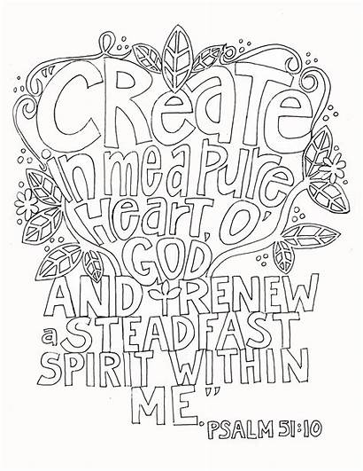 Coloring Psalms Psalm 51 Pages Create Heart