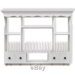 wooden kitchen plate rack white storage cup holder hooks wall mount shelving