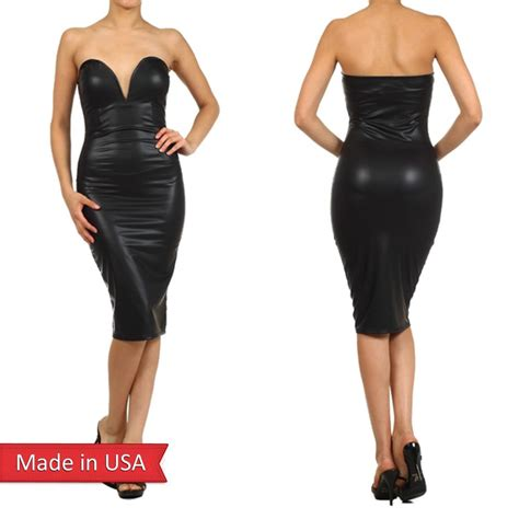Black Strapless Leather Dress   Cocktail Dresses 2016