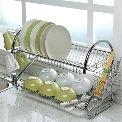 adeeing large capacity stainless steel  layer dish drainer drying rack  kitchen storage