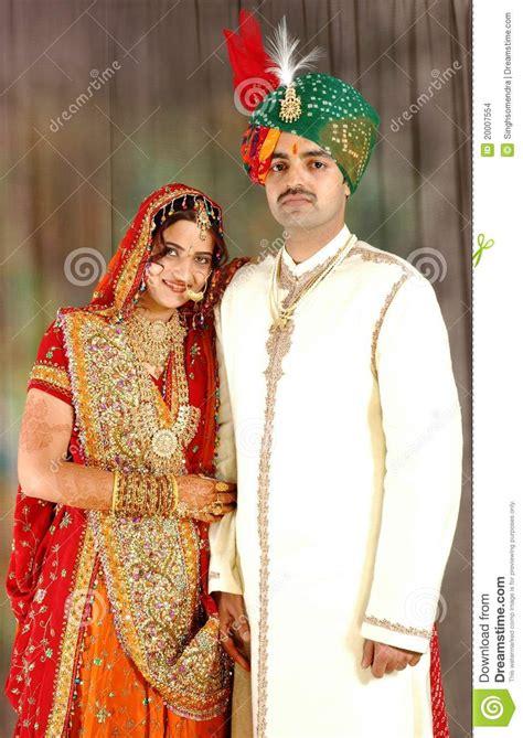 indian couple  wedding attire stock images image