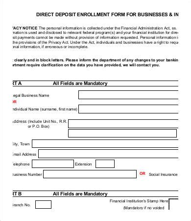 direct deposit form template direct deposit form template 9 free pdf documents