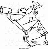Telescope Sailor Cartoon Coloring Using Outline Toonaday Leishman Ron Graphic sketch template