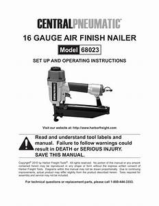 Harbor Freight Tools 16 Gauge Air Finish Nailer 68023 User