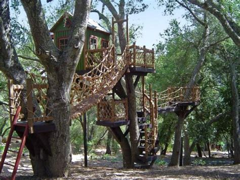 treehouses images  pinterest cabins treehouse  backyard ideas