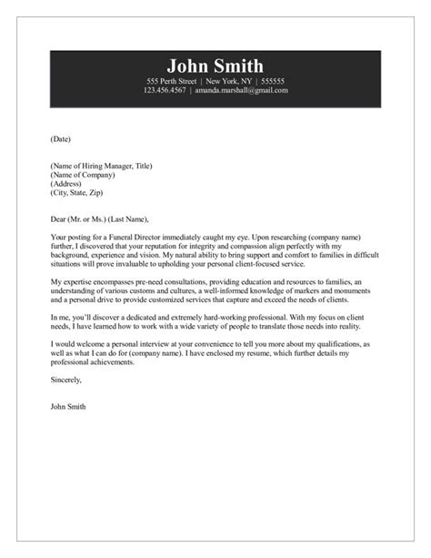 Funeral Director Resume Cover Letter by Funeral Director Cover Letter