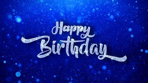 Winter Birthday Background by Happy Birthday Greeting Shiny Text Wishes Blue Glitter