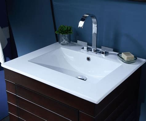 Wave Inch Contemporary Bathroom Vanity, Vitreous China