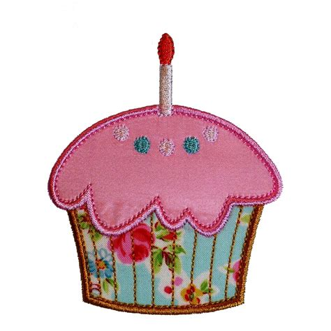 applique patterns cupcake and cupcake with candle machine embroidery