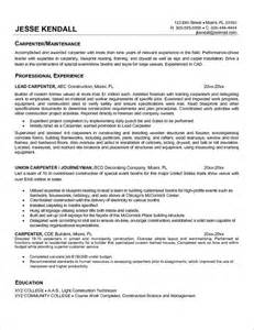 Carpenter Resume Objective Exles by Carpenter Resume Carpenter Resume Carpenter