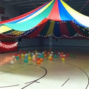 Middle school dance decorating idea.... Parachute hung ...