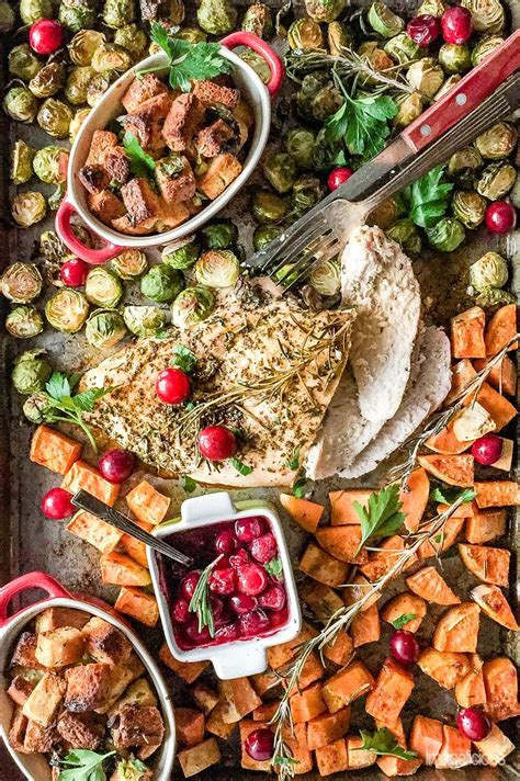 easy and beautiful sheet pan thanksgiving dinner for two
