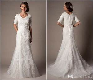 Modest custom made a line wedding dresses long bridal gown for Modest lace wedding dresses
