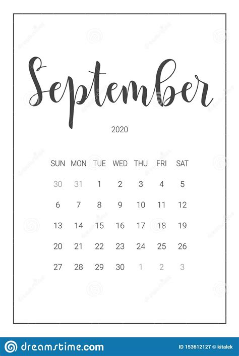vector calendar planner  september  handwritten