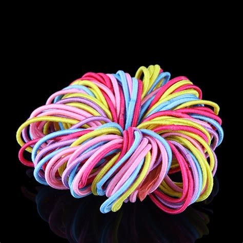 ponytail elastic band hair rubber holder bands lot tie 100pcs hairband multicolor strap ties lots gum testa children candy aliexpress