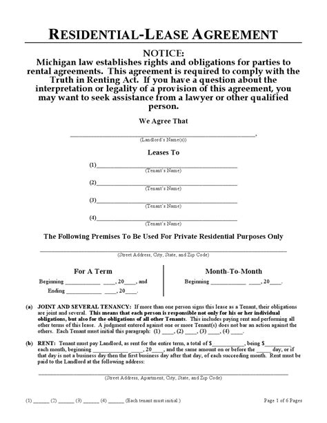 michigan residential lease agreement